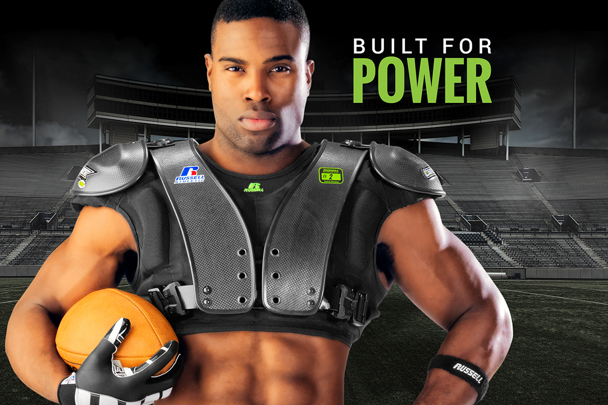 CarbonTek™ Carbon Fiber Football Shoulder Pads by Russell Athletic